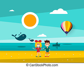 Kids on Beach with Sunset Landscape on Background. Ocean with Man on Boat and Whales Silhouette.