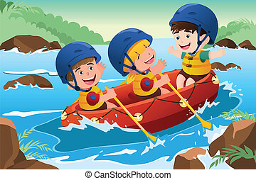 Kids on boat - A vector illustration of three happy kids on...