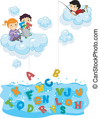 Kids on Clouds Fishing for Alphabets at Sea - Illustration...