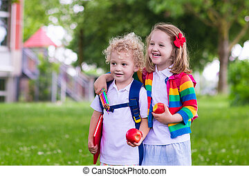 Kids on first school day