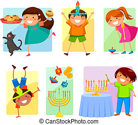 kids on Hanukkah - set of happy children celebrating ...