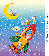kids on moon and spaceship - illustration of a kids on moon...
