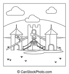 Kids on playground coloring book page