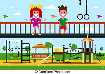 Kids on Playground. Flat Design City Park Cartoon.