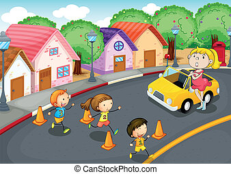 kids on road - illustration of a kids crossing on road