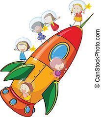 kids on rocket - illustration of a kids on rocket on white...