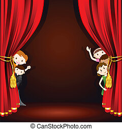 Kids on Stage - illustration of kids in costume peeping from...