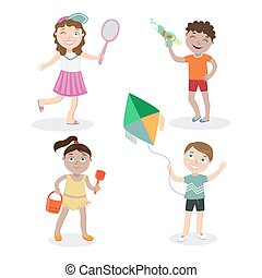 Kids on the Beach. Summer Children with Toys. Vector illustration