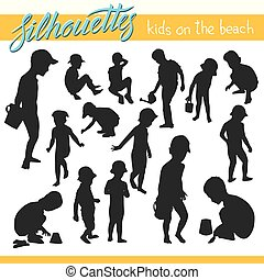 Kids on the beach vector silhouettes
