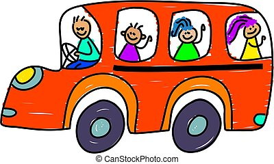 school bus - kids on the school bus - toddler art series