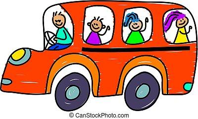 school bus - kids on the school bus - toddler art series