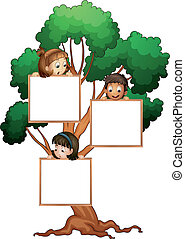 kids on the tree with white board - illustration of kids...