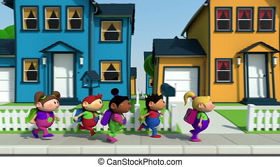 kids on their way to schoo - cute cartoon children running...