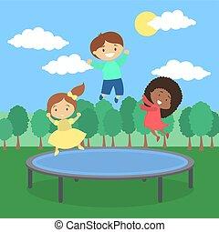 Kids on trampoline. - Kids jumping on trampoline on...