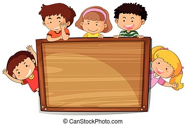 Kids on wooden board