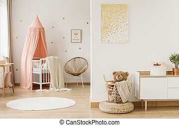 Kid's open space interior - Gold poster in kid's open space ...