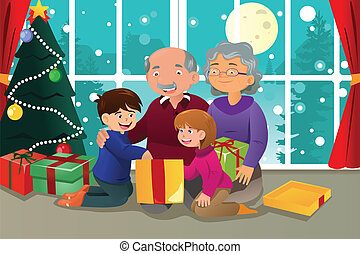 Happy kids opening christmas gifts. vector illustration.