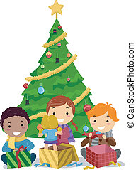 Kids Opening Gifts - Illustration of Kids Opening Gifts