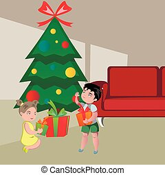 Kids Opening Gifts on Christmas