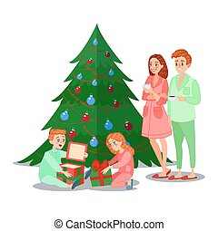 Kids Opens Christmas Gifts. Happy Family Winter Holidays. Vector illustration