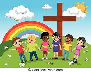 Kids or children hand in hand near christian cross meadow