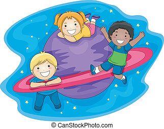 Kids Outer Space - Illustration of Kids Playing in the Outer...