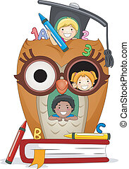Kids Owl House - Illustration of Kids Playing in an Owl...