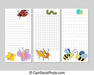 Kids pages for notes and to do lists with cartoon insects