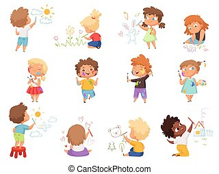 Kids painters. Paint splashes on kids clothes childrens with pallette and colored brushes hand holding vector characters