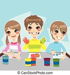 Kids Painting Fun - Three young kids having fun painting...