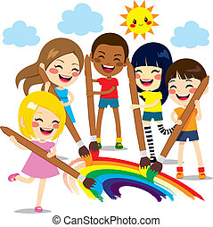 Kids Painting Rainbow - Five cute little kids painting...