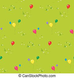 Kids party background with floating balloons