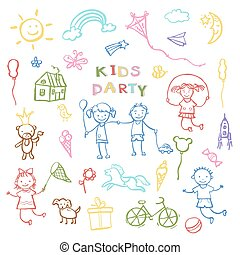 Kids party doodles for the design of childrens parties. -...