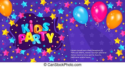 Kids party flyer or invitation with balloons and boom frame vector illustration.