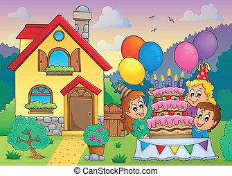 Kids party near house 1 - eps10 vector illustration.
