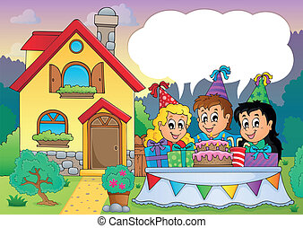 Kids party near house 4 - eps10 vector illustration.