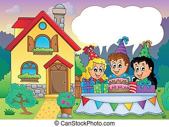 Kids party near house 4 - eps10 vector illustration.