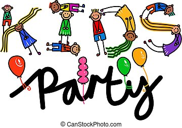 Kids Party Title Text - Happy cartoon little stick girls and...