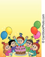 Kids Party Composition Colored Cartoon Kids Party Composition With