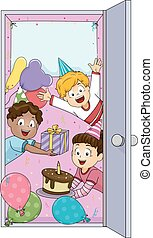 Kids Party Welcome Door - Illustration of Children Welcoming...