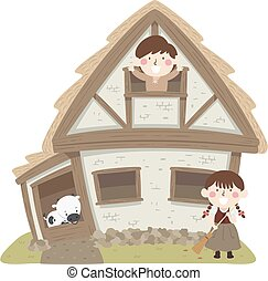 Kids Peasant House Cow Illustration - Illustration of ...