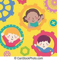 Kids Peek Gears Illustration