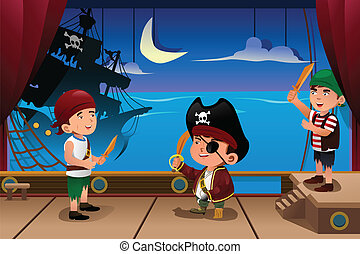 Kids performing on a stage - A vector illustration of kids...