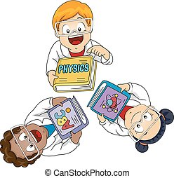Kids Physics Books Lab Gowns Illustration