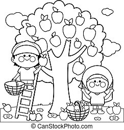 Kids picking apples. Black and white coloring page