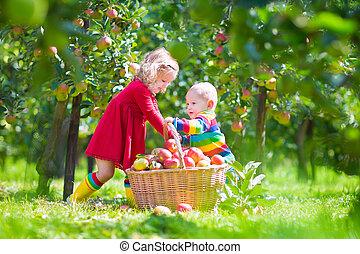 Kids picking apples in a garden