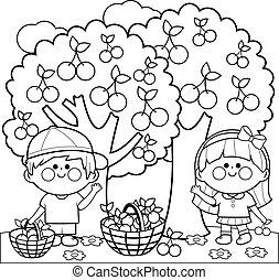 Kids picking cherries under the cherry tree. Vector black ...