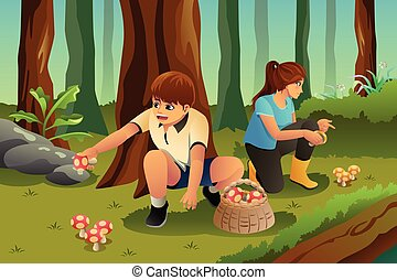 A vector illustration of kids picking up mushroom in the forest