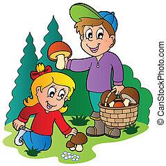 Kids picking up mushrooms