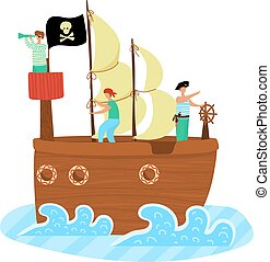 Kids pirate ship sailing in the sea, adventure, black flag and sail with scull and cross bones cartoon vector cartoon illustration isolated on white.